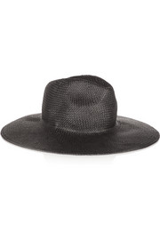 Leather-trimmed straw fedora