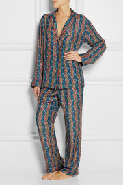 Printed cotton and silk-blend twill pajama set