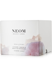 Neom Organics Real Luxury Lavender, Jasmine and Brazilian Rosewood scented candle, 420g