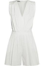 Pleated stretch-poplin playsuit