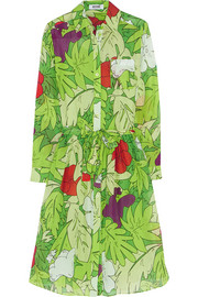 Printed cotton and silk-blend voile dress