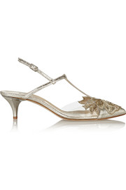 Oscar de la Renta Azra embellished cracked-leather and PVC pumps