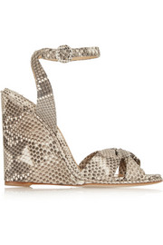 Wisteria python wedge sandals