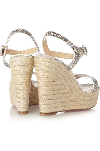 christian louboutin spachica 120 python espadrille wedge sandals