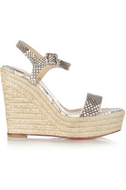 Christian Louboutin Spachica 120 python espadrille wedge sandals