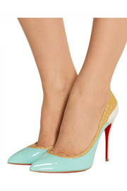 Christian Louboutin Tucsick 100 glitter-trimmed patent-leather pumps