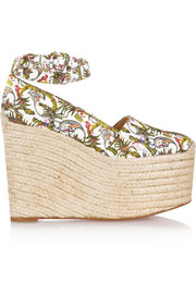 Dehia 120 printed canvas wedge espadrilles