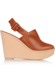 French leather wedge pumps