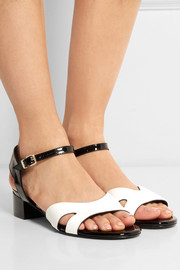 Sascou leather and patent-leather sandals