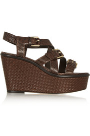 Varick elaphe and leather wedge sandals