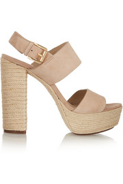 Suede and raffia sandals