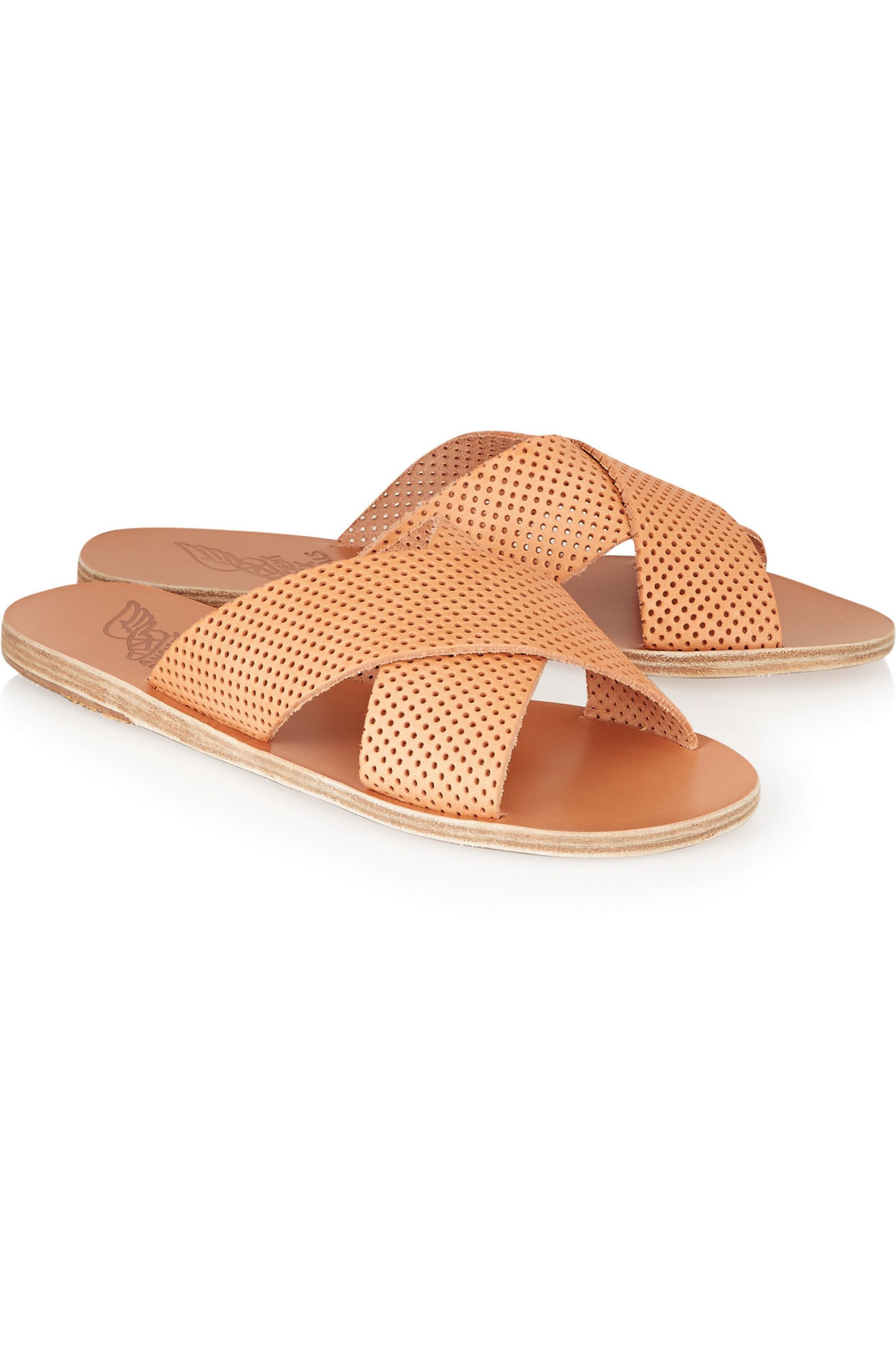 Ancient Greek Sandals Thais perforated leather slides