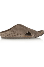 Alena perforated suede slides