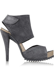 Petal perforated suede sandals