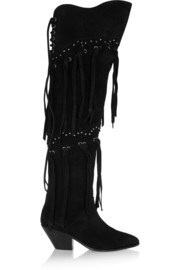 Studded and fringed suede over-the-knee boots
