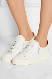 May London snake-effect leather sneakers
