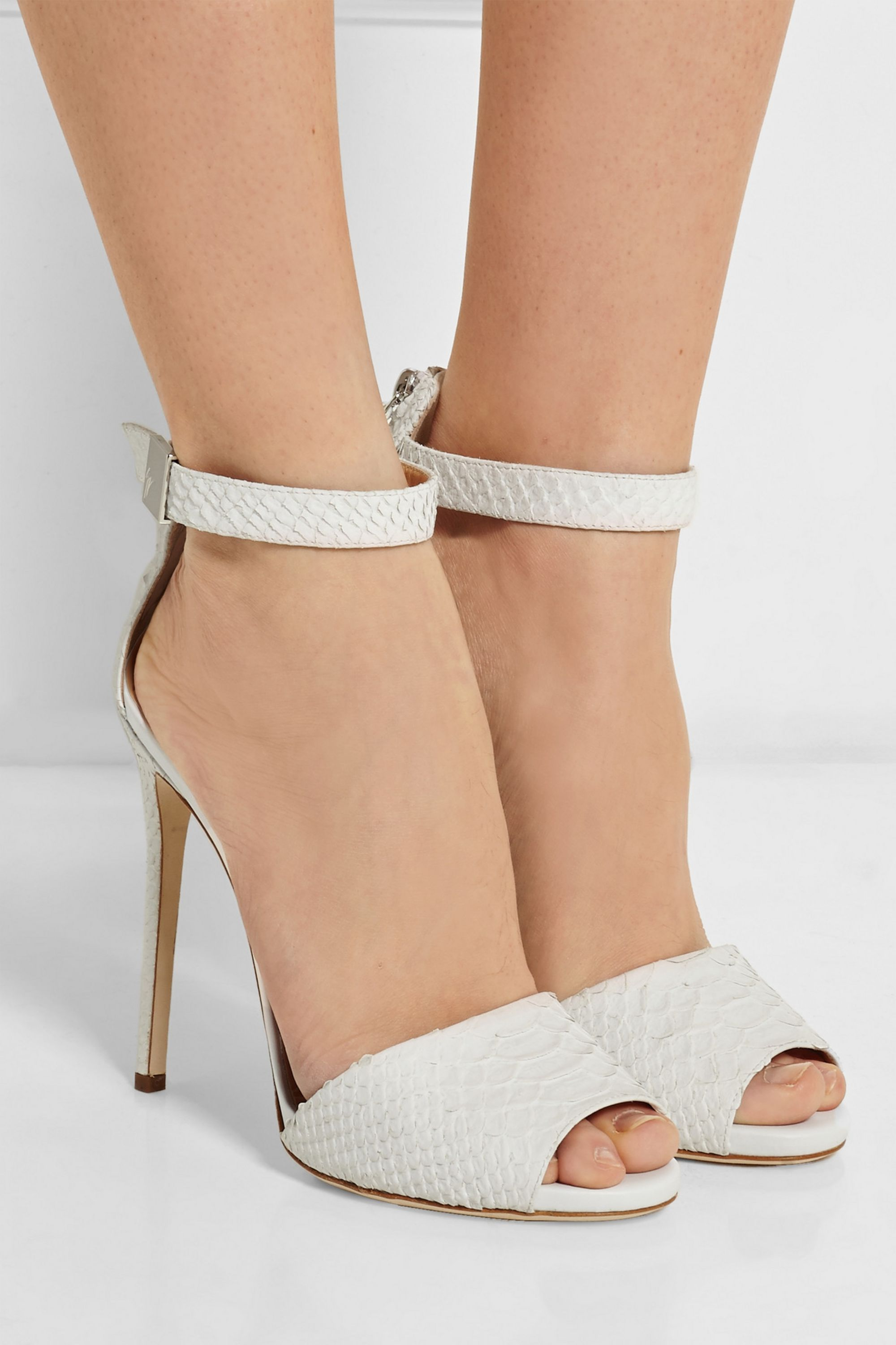 White Coline snake-effect leather