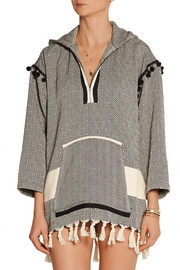 Finds + Koza Baja fringed herringbone cotton hooded top