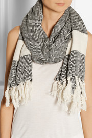 Finds + Koza fringed herringbone cotton scarf