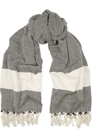 + Koza fringed herringbone cotton scarf