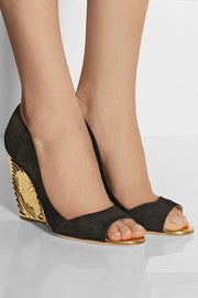 Rupert Sanderson Satire suede wedge pumps