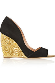 Satire suede wedge pumps