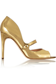Zelena metallic leather Mary Jane pumps