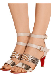 Christian Louboutin Multita 70 leather and python sandals