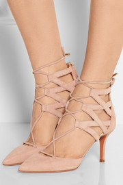 Belgravia lace-up suede pumps
