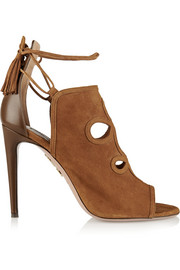 Get Me Everywhere cutout suede and leather sandals