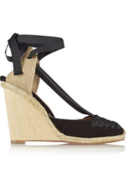 Malibu suede and grosgrain wedge espadrilles
