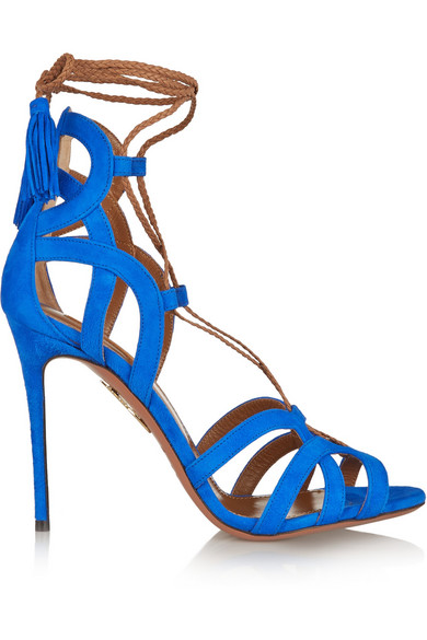 AQUAZZURA Mirage Lace-Up Suede Sandals at NET-A-PORTER