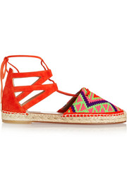 Belgravia woven and cutout suede espadrilles