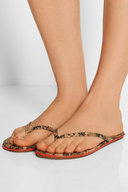 Lipliners printed leather flip flops