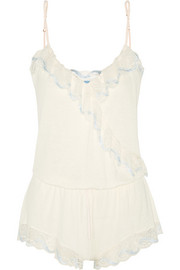 Eberjey Something Blue lace-trimmed jersey playsuit