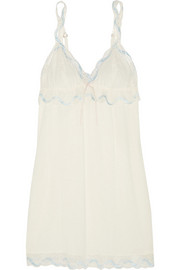 Something Blue lace-trimmed jersey chemise