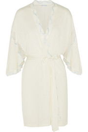 Something Blue lace-trimmed jersey robe