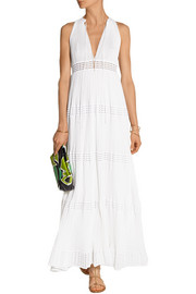Crochet-paneled cotton-blend maxi dress