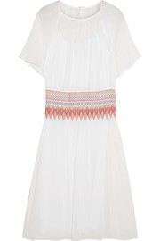Smocked cotton-voile midi dress