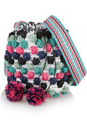 Raffia pompom-embellished shoulder bag