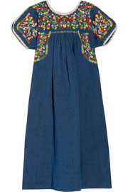 M Missoni Embroidered cotton and linen-blend dress