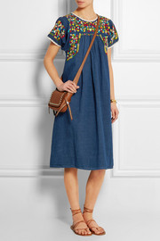 Embroidered cotton and linen-blend dress