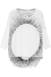 Printed shredded cotton-blend jersey top