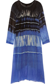 Raquel Allegra Tie-dyed silk-georgette dress
