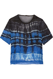 Tie-dyed silk-chiffon top