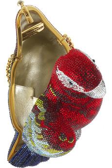 Judith LeiberCrystal-embellished parrot clutch