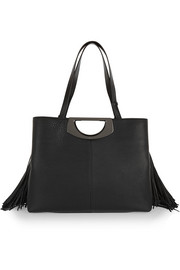Passage fringed textured-leather tote