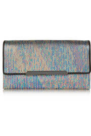 Rougissime leather-trimmed metallic PU clutch