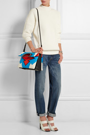 Passage color-block textured-leather tote
