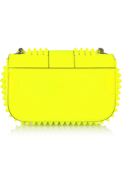 b606f0f2366 Sweety Charity mini spiked neon patent-leather shoulder bag